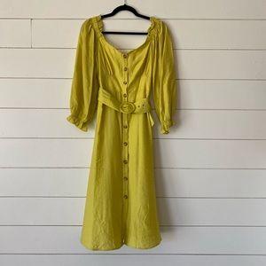 3/4 length sleeves belted midi dress